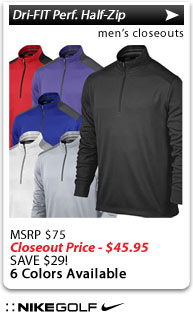 Nike Dri-FIT Performance Half-Zip Golf Cover-Ups - CLOSEOUTS