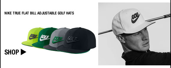 Nike True Flat Bill Adjustable Golf Hats - Nike Golf Club Collection