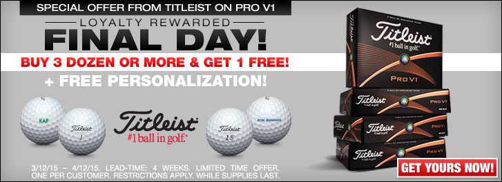Special Offer from Titleist on Pro V1 - Final Day
