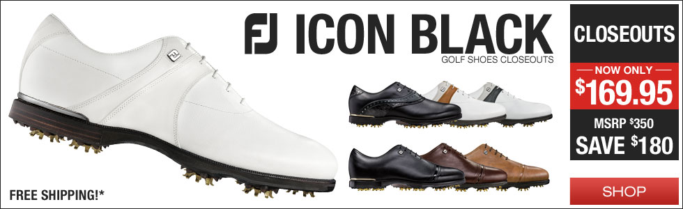 FJ ICON Black Golf Shoes - CLOSEOUTS