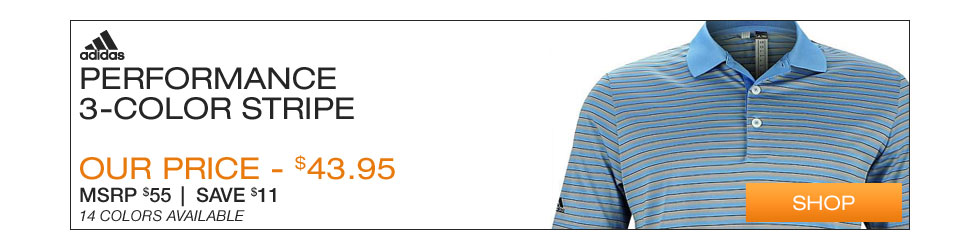 Adidas Performance 3-Color Stripe Golf Shirts
