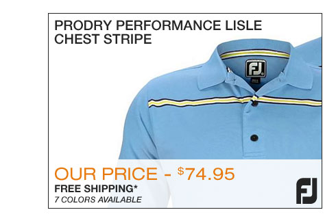 FJ ProDry Performance Lisle Chest Stripe Golf Shirts with Athletic Fit