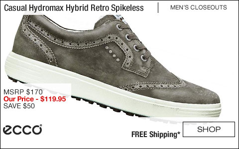 ECCO Casual Hydromax Hybrid Retro Spikeless Golf Shoes - CLOSEOUTS