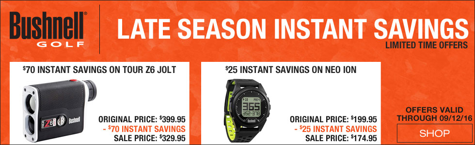 Late Season Savings on Bushnell Golf GPS Systems and Rangefinders