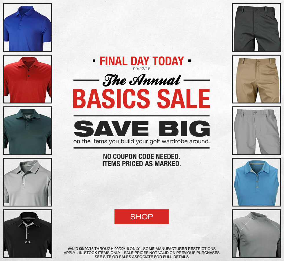 Final Day of The Annual Basics Sale at Golf Locker