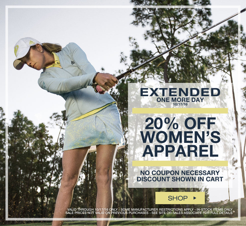 Savings Extended One More Day - 20% Off Women's Golf Apparel