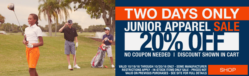 Two-Day Junior Golf Apparel Sale - 20% Off