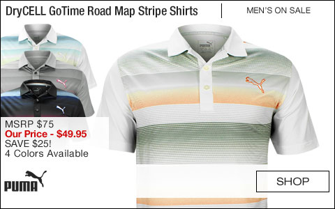 PUMA DryCELL GoTime Road Map Stripe Golf Shirts - CLOSEOUTS
