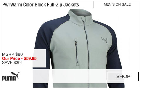 PUMA WarmCELL PwrWarm Color Block Full-Zip Golf Jackets - CLOSEOUTS
