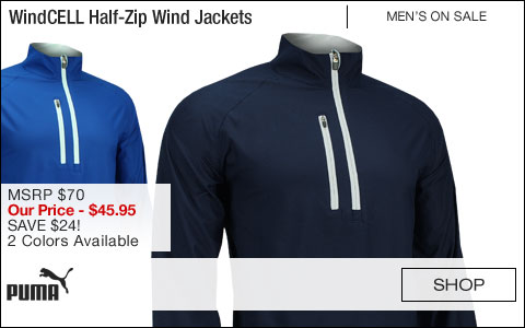 PUMA WindCELL Half-Zip Golf Wind Jackets - CLOSEOUTS