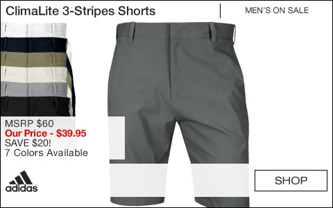 Adidas ClimaLite 3-Stripes Golf Shorts - ON SALE