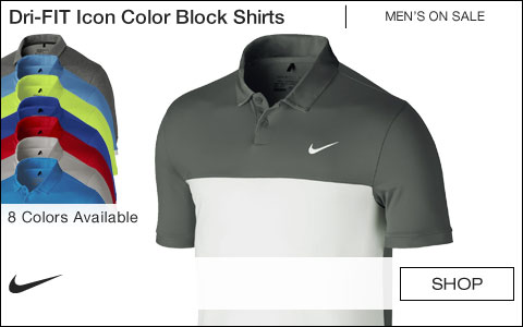 Nike Dri-FIT Icon Color Block Golf Shirts - ON SALE