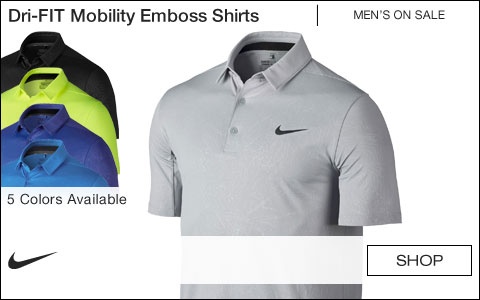Nike Dri-FIT Mobility Emboss Golf Shirts - ON SALE