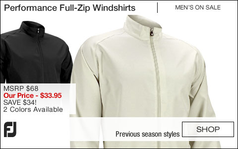 FJ Performance Full-Zip Golf Windshirts - ON SALE