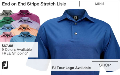 FJ End on End Stripe Stretch Lisle Golf Shirts - FJ Tour Logo Available