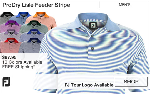FJ ProDry Lisle Feeder Stripe Golf Shirts - FJ Tour Logo Available
