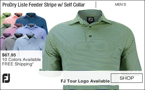 FJ ProDry Lisle Feeder Stripe Golf Shirts with Self Collar - FJ Tour Logo Available