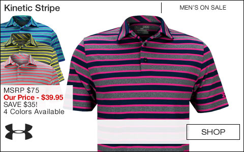 Under Armour Kinetic Stripe Golf Shirts - ON SALE
