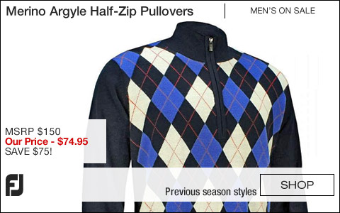 FJ Merino Argyle Half-Zip Golf Pullovers - Jupiter Collection - ON SALE