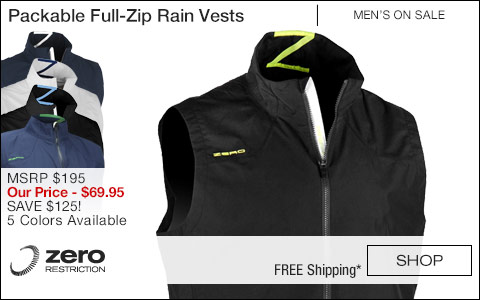 ZR Packable Full-Zip Golf Rain Vests - ON SALE