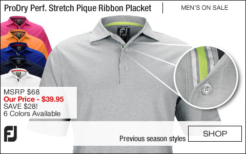 FJ ProDry Performance Stretch Pique Ribbon Placket Golf Shirts - Athletic Fit - ON SALE