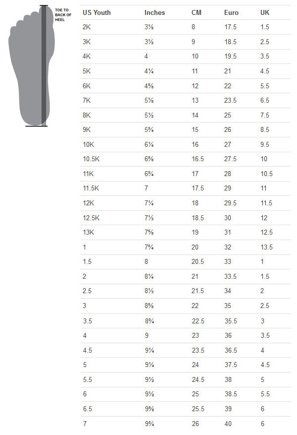 Under Armour Junior Size Guide