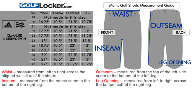 25fcac633108d Adidas ClimaLite 3-Stripes Tech Golf Shorts Size Chart