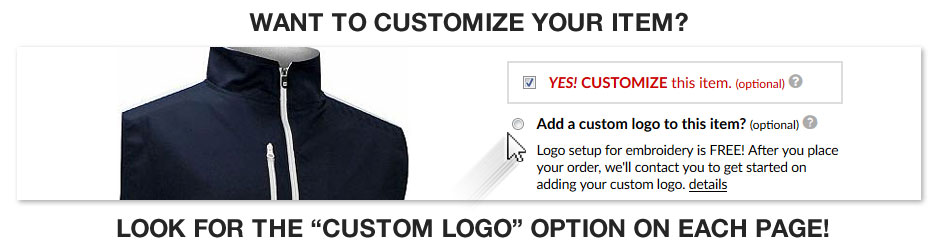 Look for the Custom Logo button on each item page.