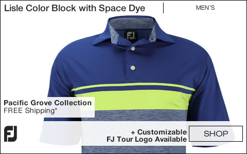 FJ Lisle Color Block with Space Dye Golf Shirts - Pacific Grove Collection - FJ Tour Logo Available