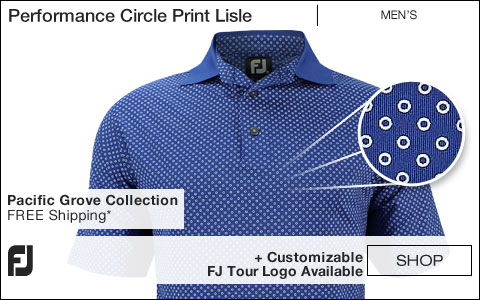 FJ Performance Circle Print Lisle Golf Shirts - Pacific Grove Collection - FJ Tour Logo Available