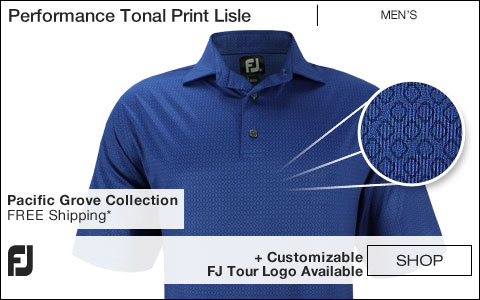 FJ Performance Tonal Print Lisle Golf Shirts - Pacific Grove Collection - FJ Tour Logo Available