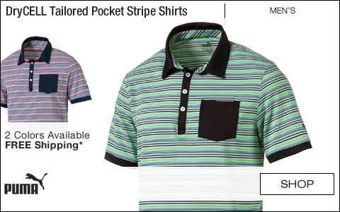 PUMA DryCELL Tailored Pocket Stripe Golf Shirts