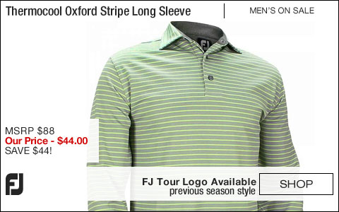 FJ Thermocool Oxford Stripe Self Collar Long Sleeve Golf Shirts - Riverside Collection - FJ Tour Logo Available - ON SALE