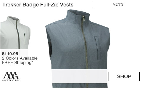 Matte Grey Trekker Badge Full-Zip Golf Vests