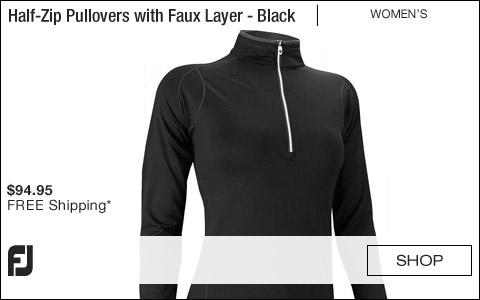 FJ Women's Half-Zip Golf Pullovers with Faux Layer - Black