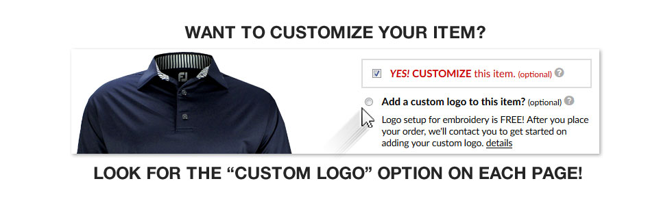 Golf Locker Custom - Customize This Item Button