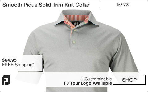 FJ Smooth Pique Solid Trim Knit Collar Golf Shirts - Asheville Collection - FJ Tour Logo Available