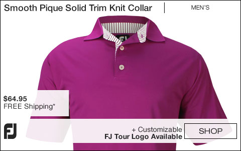 FJ Smooth Pique Solid Trim Knit Collar Golf Shirts - Portsmouth Collection - FJ Tour Logo Available