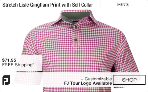 FJ Stretch Lisle Gingham Print Golf Shirts with Self Collar - Portsmouth Collection - FJ Tour Logo Available