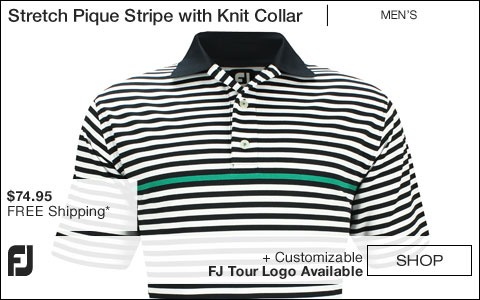 FJ Stretch Pique Stripe Golf Shirts with Knit Collar - Navy - FJ Tour Logo Available