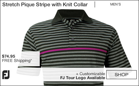 FJ Stretch Pique Stripe with Knit Collar Golf Shirts - Portsmouth Collection - FJ Tour Logo Available