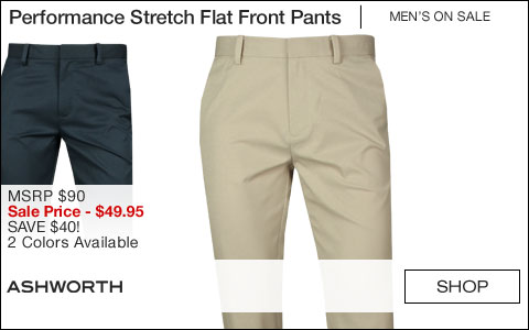 Ashworth Performance Synthetic Stretch Flat Front Golf Pants - ON SALE