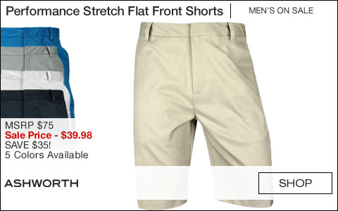 Ashworth Performance Synthetic Stretch Flat Front Golf Shorts - ON SALE