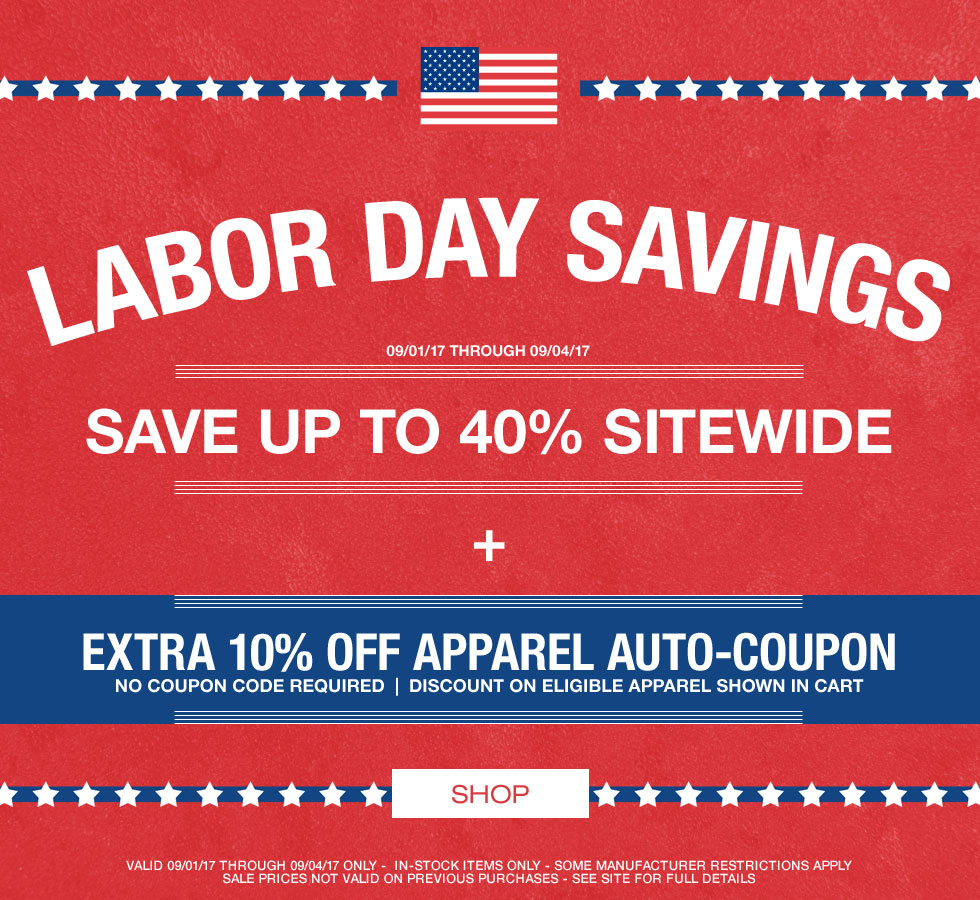 Labor Day Savings - 40% Off Sitewide Plus Extra 10% Off Apparel Auto-Coupon