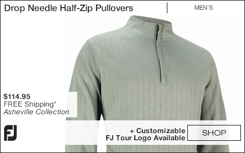 FJ Drop Needle Half-Zip Golf Pullovers with Gathered Waist - Asheville Collection - FJ Tour Logo Available