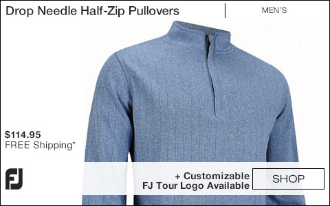 FJ Drop Needle Half-Zip Golf Pullovers with Gathered Waist - FJ Tour Logo Available