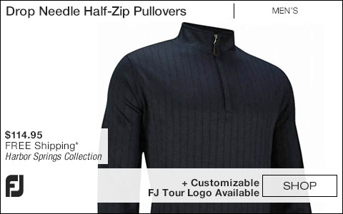 FJ Drop Needle Half-Zip Golf Pullovers with Gathered Waist - Harbor Springs Collection - FJ Tour Logo Available
