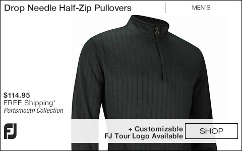 FJ Drop Needle Half-Zip Golf Pullovers with Gathered Waist - Portsmouth Collection - FJ Tour Logo Available