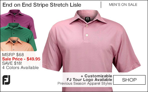 FJ End on End Stripe Stretch Lisle Golf Shirts - FJ Tour Logo Available - ON SALE