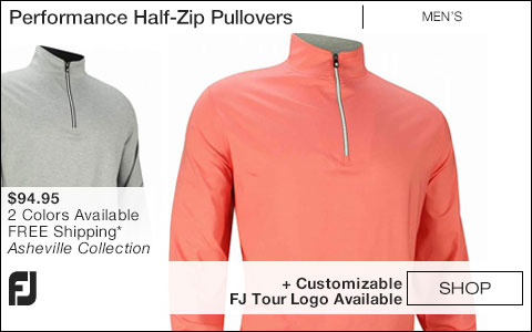 FJ Performance Half-Zip Golf Pullovers with Gathered Waist - Asheville Collection - FJ Tour Logo Available
